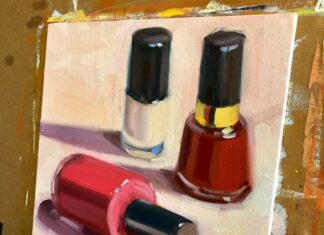 nail polish on oil painting