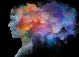 πολύχρωμη προσωπογραφία γυναικείου κεφαλιού