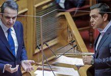 Κυριάκος Μητσοτάκης και Αλέξης Τσίπρας από το βήμα της Βουλής