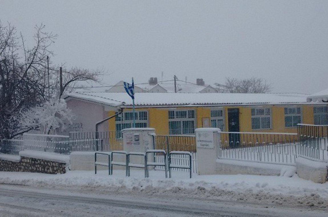 Χιόνια έξω από σχολείο
